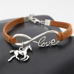 Wholesale Leather Wrap Bracelets For Women - Wholesale- 2016 New Fashion Silver Love Horse Charm Infinity Bracelets Black Leather Cords Wrap Bangle for Women Jewelry Gift for Christm