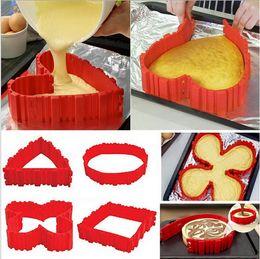 Wholesale Hearts Cupcakes - Bake Snake Silicone Snake Cake Mold Magic Cupcake Baking Square Rectangular Heart Shape Mold Bakeware 4 Pcs Set Pastry Tools