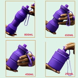 Wholesale Mountain Travel - Folding Water Bottle Silicone Drinkware Sports Portable Outdoor Travel Collapsible Drinking Foldable Cup Retractable Mug Mountain Climbing
