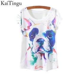 2019 vestiti della maglietta del cane all'ingrosso All'ingrosso-KaiTingu 2015 New Fashion Vintage primavera estate T Shirt Donna Top T-shirt stampa animale cane stampato vestiti donna bianca vestiti della maglietta del cane all'ingrosso economici