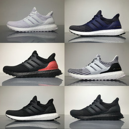 Wholesale Hot Pink Shoe Laces - Best Adidas Originals Ultra Boost 4.0 Knit New Running Shoes Hot Sell Men Women Breathable Black Grey Blue Boots Sport Sneakers 36-45