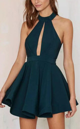 Wholesale Pink Semi Formal Dresses - Hunter Green High Neck Hollow Out Mini Short Cocktail Dresses Sexy Sleeveless Collar Ruffled Semi Formal Party Wear Homecoming Dresses
