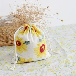 Wholesale Wholesale Sunflower Shopping Bags - 2017 Fashion Canvas Sacks Cotton Drawstring Totes Pop Print Sunflower Shopping Bags Wholesale Good Quality FreeShipping