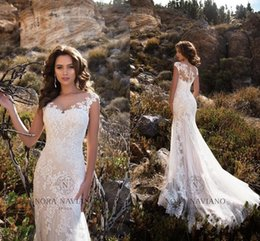 Wholesale Modest Wedding Dress Free Shipping - 2017 Modest Cap Sleeves Ivory Beach Wedding Dresses Sheer Neck Appliques Lace Sweep Train Mermaid Wedding Gowns Free Shipping