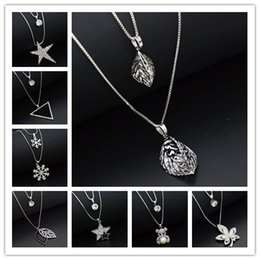 Wholesale Crystal Butterfly Necklace Black - 24 Styles Fox Butterfly Angel Snowflake Star Key Lock Cross Pattern Charming Crystal Zircon Pendant Necklace Long Sweater Chain Jewelry
