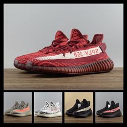 Wholesale Black Shoes New Model - 2017 SPLY-350 Boost V2 2017 New Kanye West Boost 350 V2 SPLY Running Shoes Grey Orange Stripes Zebra Bred Black Red 22 Model