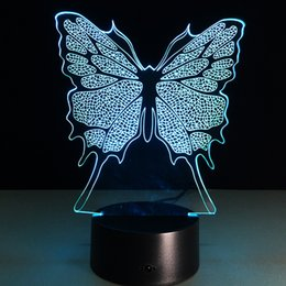 Wholesale Led Butterfly Tree - 2017 New Butterfly 3D Optical Lamp Night Light DC 5V USB Charging AA Battery Wholesale Dropshipping Free Shipping