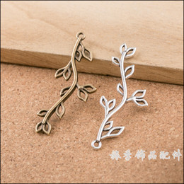 Wholesale Silver Leaf Connector - Wholesale- Free Shipping!50pcs Wholesale Pendant for jewelry making Anti- Silver Filigree Leaf Branch Charm Connector 17x43mm
