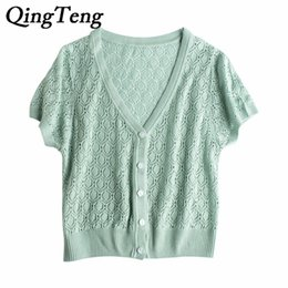 Wholesale White Cardigan Sweaters For Women - QingTeng Summer Short Sleeve Thin Cardigan Sweaters For Women Buttoned Slim Sexy Sheer Knitted Top White Lace Blouse Hollow