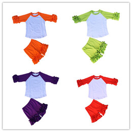Wholesale Colour Matching Clothes - Baby girl ruffle icing raglan shirts matching icing ruffle cotton shorts boutique clothing sets many sizes and colors can be choose
