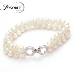 Wholesale Double Strand Set - Beautiful Real double pearl bracelets 7-8mm silver 925 freshwater natural pearl bracelet jewelry girl wife daughter birthday good gift