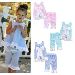 Wholesale Girl Set Bowknot - INS Girls grid set 2017 New summer 5 colors Kids girl lattice outfits Petals side big bow vest and pant suit baby bowknot clothes
