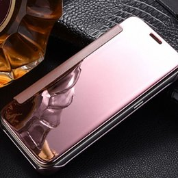 Wholesale Iphone Wallet Dot - Ultra-Thin Electroplating PC Mirror Wallet Flip Cover Case For Iphone 7 Dot View Case For Iphone Samsung With Retail package