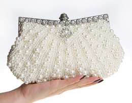Wholesale Handmade Lady Bags - Designer hot sell new style bridal hand bags handmade beaded clutch bag makeup bag wedding evening party bag shuoshuo6588