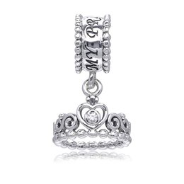 Wholesale Famous Beautiful - 2017 New Beautiful princess crown tiara dangle charms pendants 925 sterling silver jewelry for women fits famous brand diy bracelet HB283