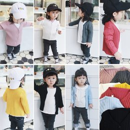 Wholesale Knit Cardigan Sweater For Kids - 7 Colors Baby Girls Sweaters Long Sleeve Sweater Tops Pure Color Knitting Cardigan Toddler Girl Clothing Top Cardigans For Kids A7276