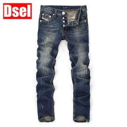 Wholesale Solid Color Men Jeans - Wholesale-Top Quality Hot Sale Fashion Dsel Brand Men Jeans Straight Dark Blue Color Printed Jeans Men Ripped Jeans,High Quality Jeans