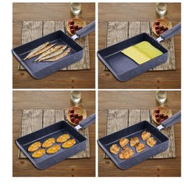 Wholesale Used Cookware - Rectangle Frying Pan Flat Mini Non Stick Cookware Used For Jade Zi Burning Steak Pans Of Omelet Kitchen pan KKA1967