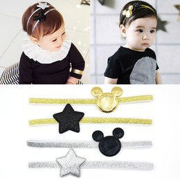Wholesale Elastic Hair Band Shine - 2017 Newly Design Mickey Children's Elastic Hair Band Girls Hair Accessories Baby Star Shining Headbands Kids Headwear