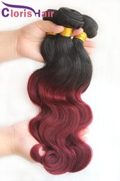 Wholesale 99j Cheap Weave - Burgundy Ombre Peruvian Virgin Hair Body Wave 3 Bundles 1b 99j Two Tone Wavy Human Hair Extensions Cheap Color Wine Red Ombre Weave