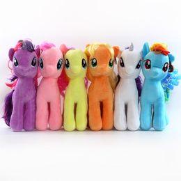 Wholesale Minecraft Wholesalers - 6pcs set 18cm Minecraft My Cute Lovely Little Horse Plush Toys PP Cotton Poni Doll Toys for Children Toys Colorful Rainbow Color Hor
