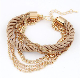 Wholesale Tassel Braiding - New Bohemia Gold Color Rope Braided Tassel Bracelets Charm Multilayer Chains Bracelets Bangles Statement Jewelry For Women