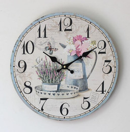 Wholesale Bird Wall Clock Art - Antique Styles Flower Butterfly Birds Printed Decorative Wall Clocks Home Deco Arts Wood Clock