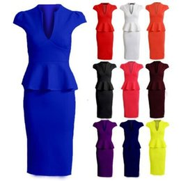 Wholesale Pencil Wiggle Dresses - 6 Colors Women Elegant Short Sleeve Ruffle Ruched Casual Work Fitted Stretch Slim Wiggle Pencil Sheath Bodycon Dress