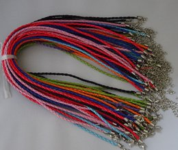 Wholesale Jewellery Making Accessories Wholesale - 100pcs PU Leather Braided Cord Necklace With Lobster Clasps Accessories For Jewelry Making Supplies Jewellery Components NC-10