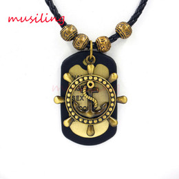 Wholesale Brass Anchor Charm - Copper Alloy Anchor Rudder Pendants Leather Necklace Pendant Mens Necklace Jewelry High Quality Accessories Metal Hip Hop Jewelry
