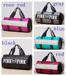 Wholesale Bags Fabric Handbags - Women Handbags Pink Letter Large Capacity Travel Duffle Striped Waterproof Beach Bag Shoulder Bag