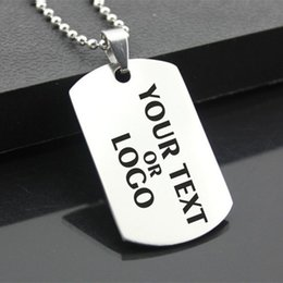 Wholesale Stainless Steel Personalized Necklace - Custom Laser Engraved Stainless Steel Stamped Large Dog Tag Military Necklaces Pendant Personalized Style Fashion Jewellery