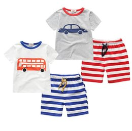 Wholesale Summer Clothing For Boys - Child summer clothes kids clothes suit for baby boys short sleeve t-shirts+pants 2pcs children clothing set
