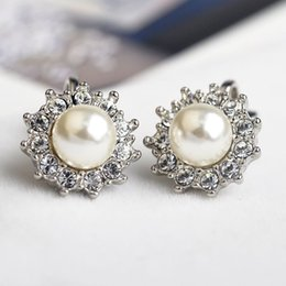 Wholesale Ear Cuffs Cz - CZ Diamond crystal clip earrings for women Silver Plated simulated Pear Earring Fashion Jewelry ear cuff Bijoux top quality