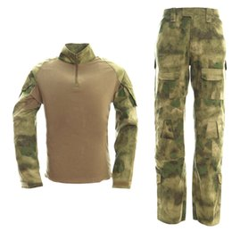 Wholesale Paintball Padded - 2017 Fashion New Arrival Tactical Airsoft Paintball Combat Uniform T shirt + Pants Knee Elbow Pads Multicam