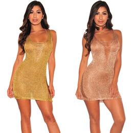 Wholesale Empire Roses - Backless Women Short Party Dress Bodycon Sexy Rose Gold Sequin Dress Deep V Neck Sexy Club Dress Vestido De Festa Curto