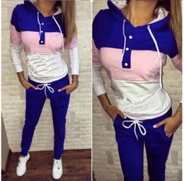 Wholesale Motion Active - 9156# 2017 European style Hat Printing Motion Twinset Sweater Women Sports Ladies Tracksuits