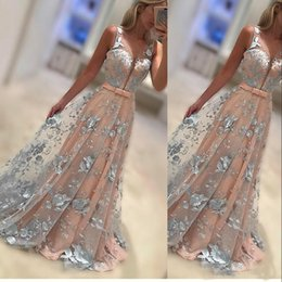 Wholesale Navy Blue Floral Prom Dress - Floral Appliqueed Long Prom Dresses Sexy Deep V Neck Sleeveless Prom Dresses Sheer Neckline Sash Lace Appliques Evening Dress
