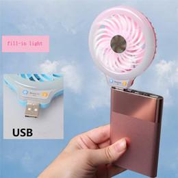 Wholesale Small Fan Lamp - Beauty Handheld LED Night Light with USB Mini Fan,Portable Selfie fill in Light with Small Fan for Power Bank Smartphone Pocket usb Lamp fan