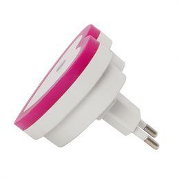 Wholesale Heart Shaped Plugs - Wholesale- ITimo Heart Shape LED Night Light Cute Bedside Lamp EU Plug Wall Lamp Decoration Bedroom Light Sensor