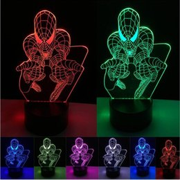 2019 lampade a ragno Commercio all'ingrosso Creativo Supereroe Uomo Figura 3D LED Spider Night Light Colorful Mood Tavolo Home Decor Camera da letto comodino Lampada da tavolo Ragazzi Uomo Regali sconti lampade a ragno