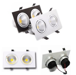 Wholesale Gs Head - Square Double Heads Dimmable Led Downlight 20W Led Ceiling Recessed Lights Silver Black White AC 110-240V