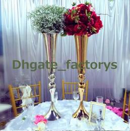 Wholesale Metal Vases For Flowers - elegant Tall sliver New Arrival ! Gold Metal Vase, Gold Flower Vase, Royal Gold Trumpet Vase For Decoration