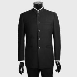 Wholesale Groom Tuxedos Black Mandarin Lapel - Custom made black Wedding Suits tuxedos For Men mandarin collar groomsman Suits Groom suits dress (Jacket+Pants)