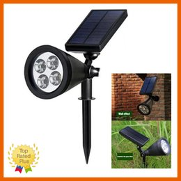 Wholesale Led Spotlight Lamp Box - 4 LED Solar Light Spot Outdoor Garden Lawn Landscape LED Spotlight Path Lamp Cold Warm Light with Retail Box