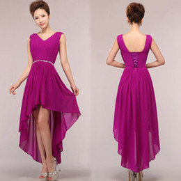 Wholesale High Low Dress Real Sample - real samples vestido renda new party 2017 purple modest bridesmaids dress bridesmaid high low dresses beaded gown H3753