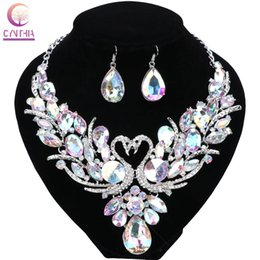 Wholesale Purple Crystal Swan Necklace - Wedding Gold Plated Chain Colorful Crystal Pendant Necklace Fashion Design Swan Jewelry Sets Necklaces Earring For Women