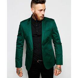 Wholesale Men S Satin Pants - 2017 New Arrival Custom made Men Suit Set Slim Wedding Suits Mens Green Groom Tuxedos Homecoming Suit One button (Jacket+Pants)