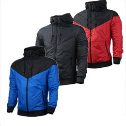 Wholesale Hooded Red Long Womens Coat - spring fall style thin jackets womens mens kids jackets blue red black white color coats outerwear jackets