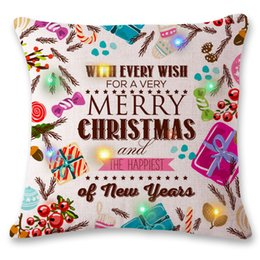 Wholesale Light Up Pillows - Merry Christmas Flashing Pillow Case 45*45cm LED Light Pillows Cushion Cover Light Up Pillowcase Car Home Sofa Christmas Festival Decoration